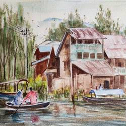kashmir , 14 x 10 inch, ram mohan e,14x10inch,handmade paper,paintings,cityscape paintings,landscape paintings,nature paintings | scenery paintings,street art,paintings for living room,paintings for office,paintings for kids room,paintings for hotel,paintings for school,watercolor,GAL069743049