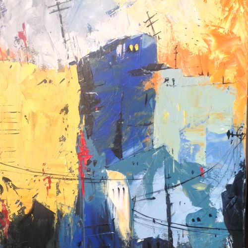 abstract city , 23 x 35 inch, mahir rastogi,abstract paintings,paintings for living room,canvas,acrylic color,23x35inch,GAL0224305