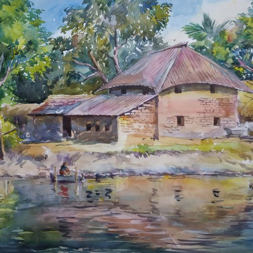 bengal village, 15 x 11 inch, anjan  laha,15x11inch,brustro watercolor paper,paintings,landscape paintings,paintings for dining room,paintings for living room,paintings for bedroom,paintings for office,paintings for hotel,paintings for school,paintings for hospital,watercolor,GAL02936143059