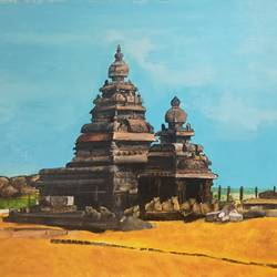 theme  temple light- , 24 x 18 inch, roopa  raghavan,24x18inch,canvas,paintings,religious paintings,acrylic color,GAL03067643067