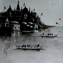 varanasi ghat 37, 10 x 10 inch, girish chandra vidyaratna,landscape paintings,paintings for bedroom,vertical,paper,acrylic color,10x10inch,GAL0364307