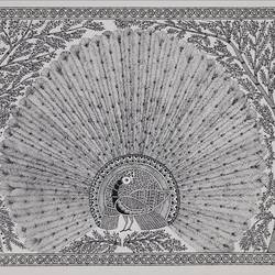 madhubani peacock, 16 x 22 inch, unmesh  kale,16x22inch,thick paper,paintings for living room,paintings for living room,ink color,GAL03069943072