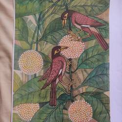 bird series 2, 13 x 8 inch, lalat mohan patanaik,13x8inch,cloth,paintings,paintings for living room,watercolor,GAL03071343087