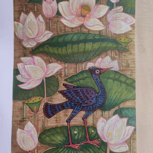 bird series3, 9 x 15 inch, lalat mohan patanaik,9x15inch,cloth,paintings,paintings for living room,watercolor,GAL03071343088