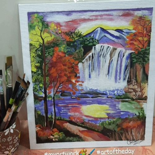 waterfall painting as per vastu shastra , 10 x 12 inch, chitra chandane,10x12inch,canvas,nature paintings | scenery paintings,paintings for living room,paintings for office,paintings for hotel,paintings for living room,paintings for office,paintings for hotel,acrylic color,GAL03034343097