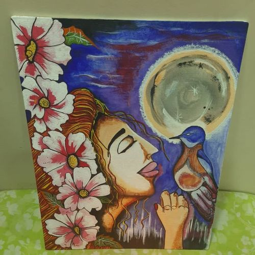 free girl canvas painting , 11 x 14 inch, chitra chandane,11x14inch,canvas,paintings,portraiture,paintings for dining room,paintings for living room,paintings for bedroom,paintings for office,paintings for bathroom,paintings for kids room,paintings for hotel,paintings for kitchen,paintings for school,paintings for hospital,acrylic color,GAL03034343101
