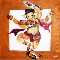 dancing ganesha  4, 36 x 36 inch, sandip ghodke,figurative paintings,paintings for office,canvas,acrylic color,36x36inch,GAL015224311