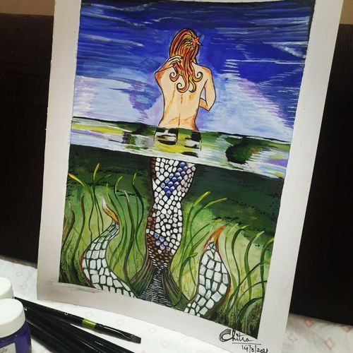 half nude mermaid, 8 x 10 inch, chitra chandane,8x10inch,thick paper,paintings,figurative paintings,paintings for dining room,paintings for living room,paintings for bedroom,paintings for office,paintings for bathroom,paintings for hotel,acrylic color,GAL03034343112