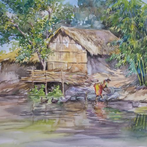 bengal village 2, 15 x 11 inch, anjan  laha,15x11inch,fabriano sheet,paintings,landscape paintings,paintings for dining room,paintings for bedroom,paintings for office,paintings for hotel,paintings for school,paintings for hospital,watercolor,GAL02936143115