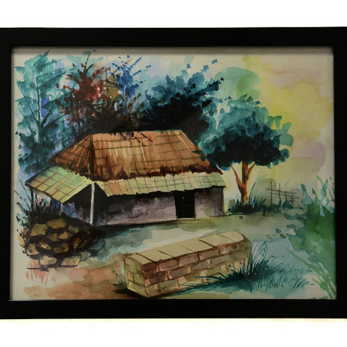 water colour senary with glass frame, 14 x 12 inch, lavanya gottumukala,14x12inch,drawing paper,landscape paintings,modern art paintings,conceptual paintings,religious paintings,nature paintings | scenery paintings,contemporary paintings,paintings for dining room,paintings for living room,paintings for bedroom,paintings for office,paintings for kids room,paintings for hotel,paintings for hospital,paintings for dining room,paintings for living room,paintings for bedroom,paintings for office,paintings for kids room,paintings for hotel,paintings for hospital,watercolor,glass,wood,paper,GAL03075243118