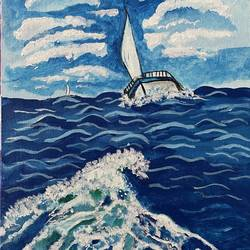sailboat in deep blue sea, 12 x 16 inch, vina davane,12x16inch,canvas,nature paintings | scenery paintings,paintings for living room,paintings for hotel,paintings for living room,paintings for hotel,acrylic color,GAL01190443144