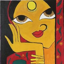 indian traditional lady, 16 x 20 inch, vina davane,16x20inch,canvas,paintings,folk art paintings,modern art paintings,paintings for dining room,paintings for hotel,acrylic color,GAL01190443145
