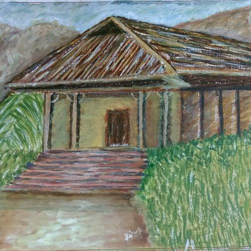 natural hut, 13 x 10 inch, krishna  sarvaiya,landscape paintings,paintings for living room,thick paper,watercolor,13x10inch,GAL015264315