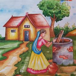 panghat, 14 x 11 inch, shilpi ghosh,14x11inch,paper,landscape paintings,watercolor,GAL02884943155
