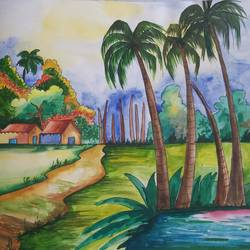 village of south india, 14 x 11 inch, shilpi ghosh,14x11inch,paper,paintings,landscape paintings,paper,GAL02884943156