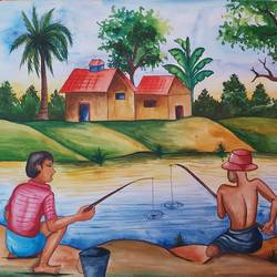 fishing in the pond, 14 x 11 inch, shilpi ghosh,14x11inch,paper,paintings,landscape paintings,paper,GAL02884943157