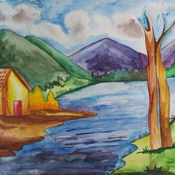 nature, 17 x 12 inch, shilpi ghosh,17x12inch,paper,paintings,landscape paintings,watercolor,paper,GAL02884943158