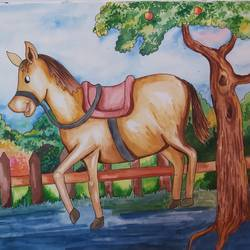 happy innocent horse, 14 x 11 inch, shilpi ghosh,14x11inch,paper,paintings,landscape paintings,paintings for school,watercolor,GAL02884943159