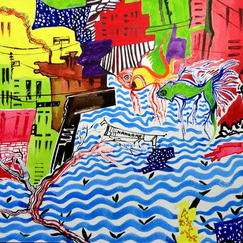 the global warming03, 12 x 9 inch, kankana  pal,cityscape paintings,conceptual paintings,paintings for living room,paintings for office,vertical,paper,mixed media,12x9inch,GAL08334316