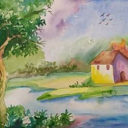 peaceful nature, 12 x 8 inch, shilpi ghosh,12x8inch,paper,landscape paintings,paintings for living room,paintings for bedroom,paintings for living room,paintings for bedroom,watercolor,paper,GAL02884943160