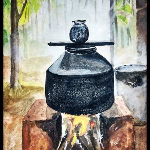 hot water pot, 11 x 15 inch, tushar  amonkar,11x15inch,handmade paper,realistic paintings,paintings for hotel,paintings for hotel,watercolor,GAL03080143161