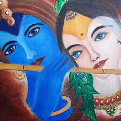 radha- krishna, 18 x 12 inch, preeti kadu,18x12inch,canvas,paintings,radha krishna paintings,acrylic color,GAL03077643162