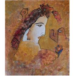 beautiful girl looking at flower, 12 x 15 inch, preeti kadu,12x15inch,canvas,paintings,abstract paintings,figurative paintings,modern art paintings,portrait paintings,expressionism paintings,portraiture,paintings for living room,paintings for hotel,acrylic color,GAL03077643165