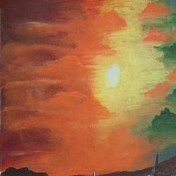 beach view at night, 13 x 19 inch, preeti kadu,13x19inch,canvas,paintings,landscape paintings,nature paintings | scenery paintings,paintings for dining room,paintings for living room,paintings for bedroom,paintings for office,paintings for hotel,paintings for hospital,acrylic color,GAL03077643166