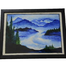 water painting senary with frame, 14 x 12 inch, lavanya gottumukala,14x12inch,thick paper,paintings,landscape paintings,modern art paintings,nature paintings | scenery paintings,paintings for dining room,paintings for living room,paintings for bedroom,paintings for office,paintings for kids room,paintings for hotel,paintings for school,paintings for hospital,watercolor,glass,wood,paper,GAL03075243171