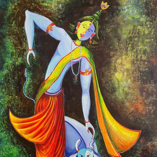 divine space, 21 x 27 inch, priyanka dutt,21x27inch,canvas,paintings,religious paintings,paintings for living room,paintings for living room,acrylic color,GAL087943173