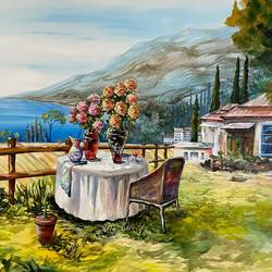 vacation home, 31 x 22 inch, priyanka dutt,31x22inch,canvas,paintings,landscape paintings,paintings for living room,acrylic color,GAL087943174