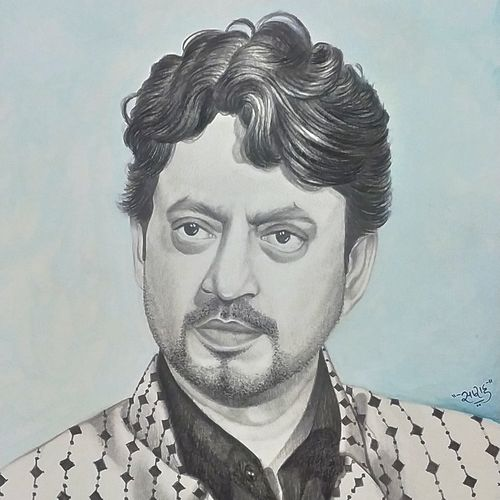 irrfan khan sketch/painting, 10 x 13 inch, sarah siddiqui,10x13inch,thick paper,drawings,fine art drawings,portrait drawings,surrealism drawings,paintings for living room,charcoal,ink color,pencil color,watercolor,paper,GAL0789643175