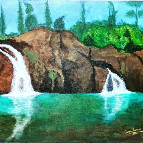 hill station waterfall, 30 x 24 inch, tushar  amonkar,30x24inch,canvas,paintings,water fountain paintings,paintings for dining room,paintings for living room,paintings for bedroom,paintings for office,paintings for kids room,paintings for hotel,paintings for school,paintings for hospital,acrylic color,GAL03080143187