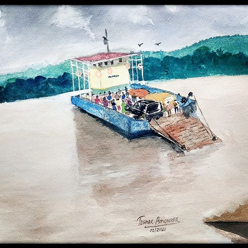 goan ferry boat, 15 x 11 inch, tushar  amonkar,15x11inch,handmade paper,nature paintings | scenery paintings,paintings for dining room,paintings for living room,paintings for office,paintings for hotel,paintings for school,paintings for hospital,paintings for dining room,paintings for living room,paintings for office,paintings for hotel,paintings for school,paintings for hospital,watercolor,GAL03080143189