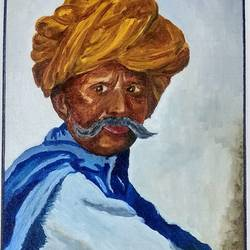 farmer, 12 x 16 inch, tushar  amonkar,12x16inch,canvas board,paintings,portraiture,paintings for living room,paintings for office,paintings for hotel,paintings for school,paintings for hospital,oil color,GAL03080143191