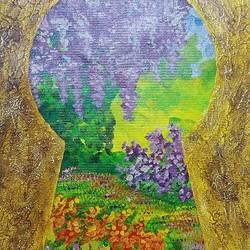 secret garden, 16 x 20 inch, harini jagadish,16x20inch,canvas,paintings,abstract paintings,nature paintings | scenery paintings,abstract expressionism paintings,paintings for dining room,paintings for living room,paintings for bedroom,paintings for office,paintings for kids room,paintings for hotel,paintings for school,paintings for hospital,acrylic color,mixed media,GAL02718143199