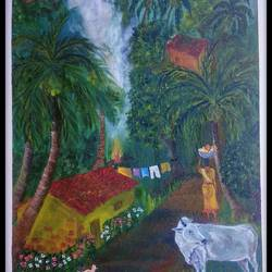 village life, 14 x 18 inch, tushar  amonkar,14x18inch,canvas,paintings,nature paintings | scenery paintings,paintings for dining room,paintings for living room,paintings for office,paintings for hotel,paintings for school,paintings for hospital,oil color,GAL03080143221