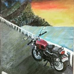 retro bike, 8 x 10 inch, tushar  amonkar,8x10inch,canvas,paintings,still life paintings,nature paintings | scenery paintings,paintings for dining room,paintings for living room,paintings for office,paintings for hotel,paintings for school,paintings for hospital,oil color,GAL03080143228