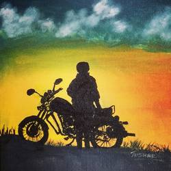 sun rise ride, 8 x 10 inch, tushar  amonkar,8x10inch,canvas,nature paintings | scenery paintings,paintings for dining room,paintings for living room,paintings for office,paintings for kids room,paintings for hotel,paintings for school,paintings for hospital,paintings for dining room,paintings for living room,paintings for office,paintings for kids room,paintings for hotel,paintings for school,paintings for hospital,oil color,GAL03080143229