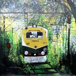 the train2, 12 x 12 inch, kankana  pal,cityscape paintings,paintings for living room,vertical,canvas,acrylic color,12x12inch,GAL08334323