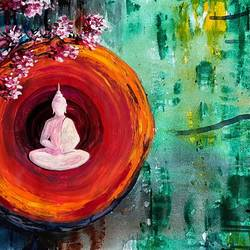 healing prowess, 36 x 17 inch, priyanka dutt,36x17inch,canvas,buddha paintings,paintings for living room,paintings for living room,acrylic color,GAL087943237