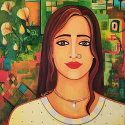 elakshi series of women, 16 x 24 inch, anjali  surana,16x24inch,canvas,paintings,figurative paintings,contemporary paintings,paintings for dining room,paintings for living room,paintings for bedroom,paintings for office,paintings for bathroom,paintings for kids room,paintings for hotel,paintings for kitchen,paintings for school,paintings for hospital,acrylic color,GAL03088143240