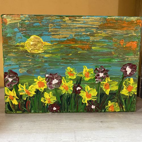 sunflower palette knife painting , 7 x 5 inch, pooja lokhande,7x5inch,canvas,paintings,flower paintings,landscape paintings,nature paintings   scenery paintings,paintings for dining room,paintings for living room,paintings for bedroom,paintings for office,paintings for bathroom,paintings for kids room,paintings for hotel,paintings for kitchen,paintings for school,paintings for hospital,acrylic color,GAL0420543244