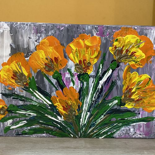 tulip palette knife painting, 7 x 5 inch, pooja lokhande,7x5inch,canvas,paintings,flower paintings,nature paintings | scenery paintings,paintings for dining room,paintings for living room,paintings for bedroom,paintings for office,paintings for kids room,paintings for hotel,paintings for kitchen,paintings for school,paintings for hospital,acrylic color,GAL0420543245