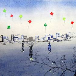 kites, 22 x 15 inch, kankana  pal,conceptual paintings,paintings for living room,paintings for office,paper,mixed media,22x15inch,GAL08334325