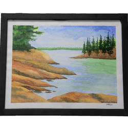 water painting scenery with glass frame, 14 x 12 inch, lavanya gottumukala,14x12inch,thick paper,paintings,figurative paintings,landscape paintings,modern art paintings,conceptual paintings,nature paintings | scenery paintings,paintings for dining room,paintings for living room,paintings for bedroom,paintings for office,paintings for kids room,paintings for hotel,paintings for school,paintings for hospital,watercolor,glass,wood,paper,GAL03075243252
