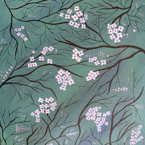 branched out beauty, 12 x 16 inch, deepti  naair,12x16inch,canvas,paintings,flower paintings,modern art paintings,paintings for living room,paintings for office,acrylic color,GAL03089943253