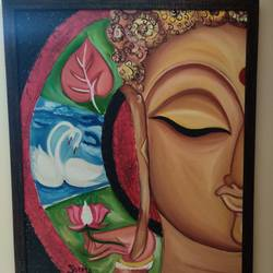 wheel of peace - buddha's meditating face, 24 x 30 inch, seema pandey,24x30inch,canvas,paintings,abstract paintings,buddha paintings,modern art paintings,paintings for dining room,paintings for living room,paintings for bedroom,paintings for office,paintings for hotel,oil color,GAL03090343258