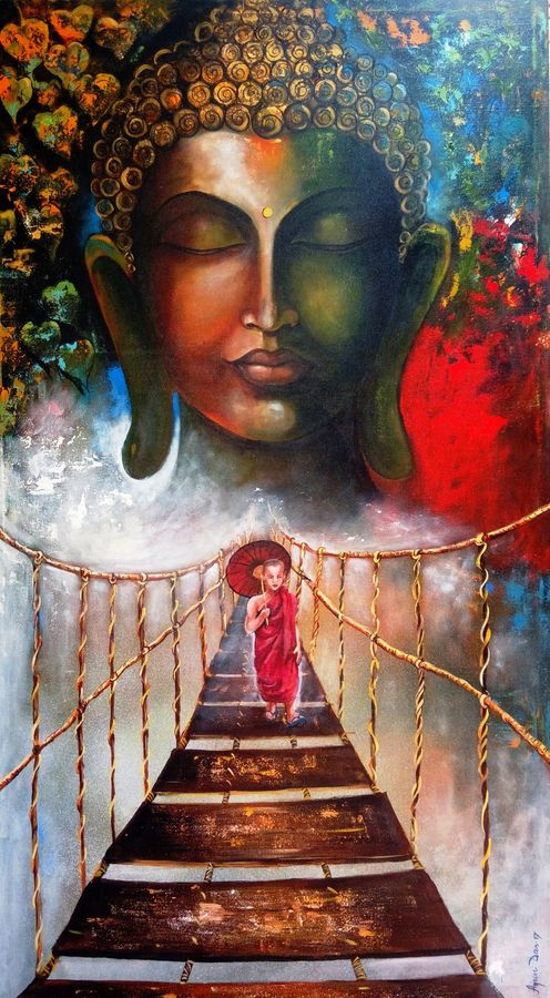 buddha and walking monk child, 33 x 60 inch, arjun das,buddha paintings,paintings for living room,canvas,acrylic color,33x60inch,colourful,monk,blessing,praying,peaceful,GAL01124326