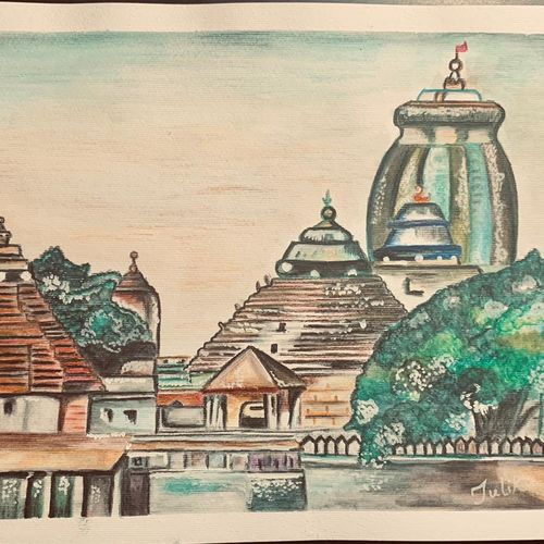 jagannath temple puri, 11 x 8 inch, tulika sharma,11x8inch,drawing paper,paintings,landscape paintings,religious paintings,nature paintings   scenery paintings,paintings for dining room,paintings for living room,paintings for office,paintings for hospital,acrylic color,watercolor,paper,GAL03091143262